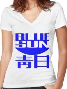 Blue Sun Corporate Logo Women's Fitted V-Neck T-Shirt