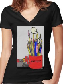 ARTISTE TOOLS Women's Fitted V-Neck T-Shirt