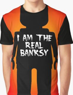 "Black Minifig with ""I am the Real Banksy"" slogan by Customize My Minifig Graphic T-Shirt"