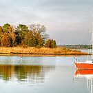 The Red Sail Boat by Monte Morton