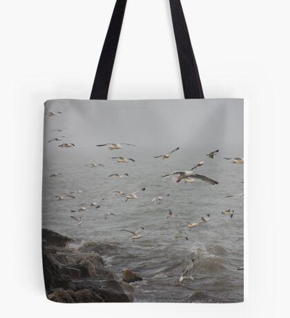 A flock of Seagulls feeding Tote Bag