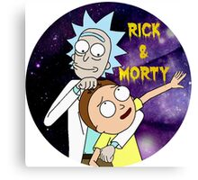 Rick and morty round Canvas Print