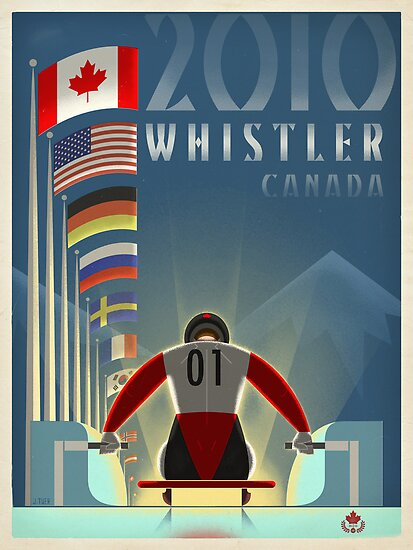 """Olympic Luge"" Whistler, BC Travel Poster by James Tuer"