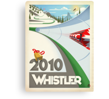 """""""Olympic Bobsled"""" Whistler, BC Travel Poster Canvas Print"""