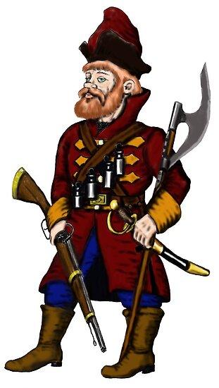Russian Strelets (musketeer) cartoon drawing art by Vitaliy Gonikman