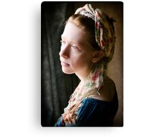 portrait of a young lady by the window Canvas Print