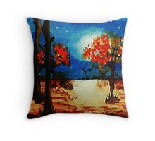 Fall in the moonlight, watercolor Throw Pillow