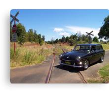 VW Squareback at Railway Crossing Canvas Print
