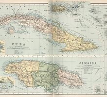 Vintage Map of Cuba and Jamaica (1892) by BravuraMedia