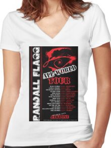 Randall Flagg World Tour- 80s Metal/Rock Style Women's Fitted V-Neck T-Shirt