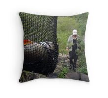 Weary after a hard day fishing Throw Pillow