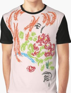 Girl with Flowers Graphic T-Shirt