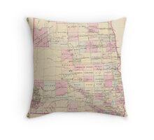 Vintage Map of The Dakota Territory (1880) Throw Pillow
