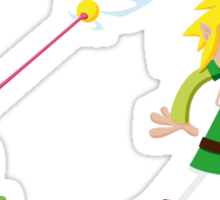 Link and a frog Sticker