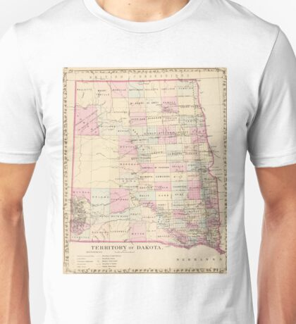 Vintage Map of The Dakota Territory (1880) Unisex T-Shirt