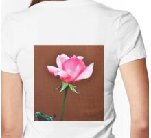 LONG STEM FRAGRANT PINK ROSE Womens Fitted T-Shirt