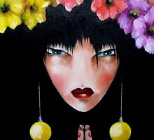 geisha with flowers by matthew  chapman