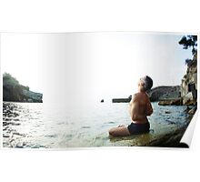 Reverse Namaskar, Yoga 7 by the beach, Mallorca Poster
