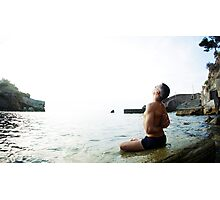 Reverse Namaskar, Yoga 7 by the beach, Mallorca Photographic Print