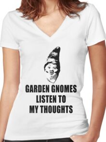 Garden Gnomes (black) Women's Fitted V-Neck T-Shirt
