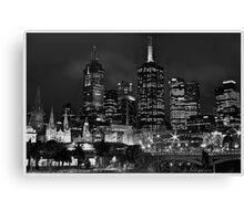 Melbourne and Flinders street in b/w  Canvas Print