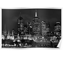 Melbourne and Flinders street in b/w  Poster