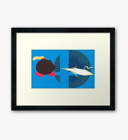 Zero Suit Samus  (Kirby Hat) - Sunset Shores Framed Print