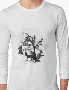 Curious Poses T-Shirt - grey print Long Sleeve T-Shirt