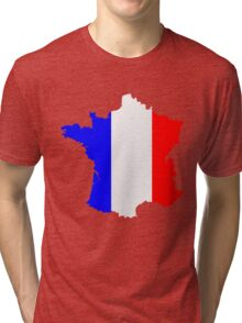 France Flag and  Map Tri-blend T-Shirt