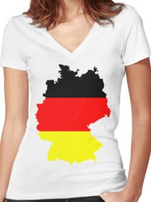 Germany Flag and Map Women's Fitted V-Neck T-Shirt