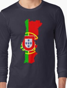 Portugal Flag and Map Long Sleeve T-Shirt