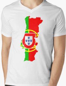 Portugal Flag and Map Mens V-Neck T-Shirt
