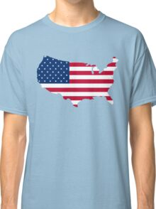 United States Flag and Map Classic T-Shirt