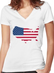 United States Flag and Map Women's Fitted V-Neck T-Shirt