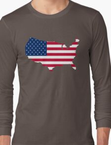United States Flag and Map Long Sleeve T-Shirt