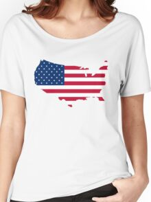 United States Flag and Map Women's Relaxed Fit T-Shirt