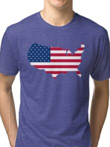 United States Flag and Map Tri-blend T-Shirt