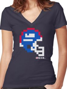 Tecmo Bowl - New York - 8-bit - Mini Helmet shirt Women's Fitted V-Neck T-Shirt