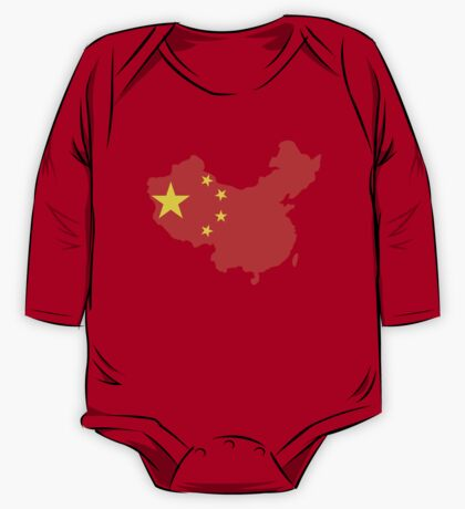 China Flag and Map One Piece - Long Sleeve
