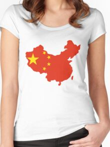 China Flag and Map Women's Fitted Scoop T-Shirt