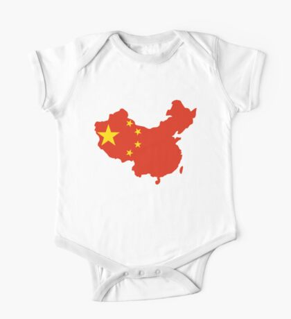 China Flag and Map One Piece - Short Sleeve