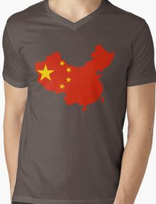 China Flag and Map Mens V-Neck T-Shirt
