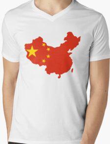 China Flag and Map Mens V-Neck T-Shirt