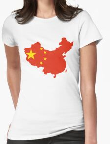 China Flag and Map Womens Fitted T-Shirt