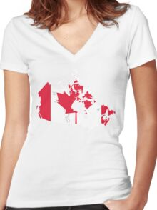 Canada Flag and Map Women's Fitted V-Neck T-Shirt
