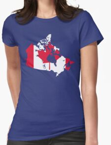 Canada Flag and Map Womens Fitted T-Shirt