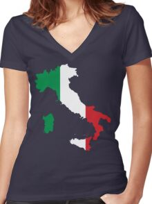 Italy Flag and Map Women's Fitted V-Neck T-Shirt