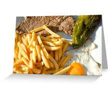 Fried egg, french fries, pepper and steak Greeting Card