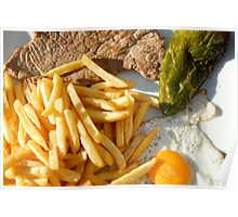 Fried egg, french fries, pepper and steak Poster
