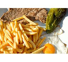 Fried egg, french fries, pepper and steak Photographic Print